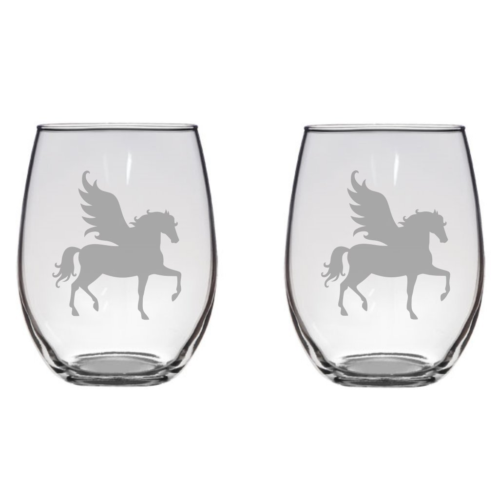 Pegasus Etched 20.5 Stemless Wine of Set Two Glasses Sales Free shipping