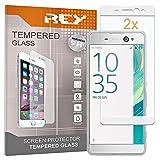 REY 2X Protector de Pantalla 3D para Sony Xperia XA Ultra, Blanco, Protección Completa, 3D / 4D / 5D