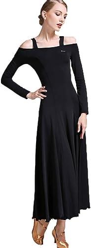 DRESSS Robe Moderne de Jupe de Danse, Robe de Salle de Bal Valse Robe de Danse Valle à Manches Longues (Couleur   noir, Taille   S)