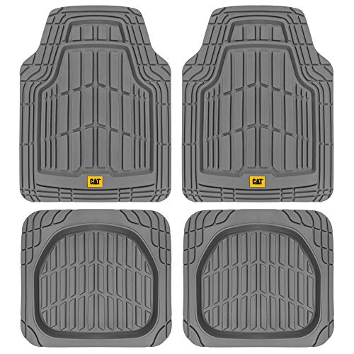 CAT Heavy Duty Odorless Rubber Floor Mats, Total Protection Durable Trim to Fit Liners for Car Truck SUV & Van, All Weather