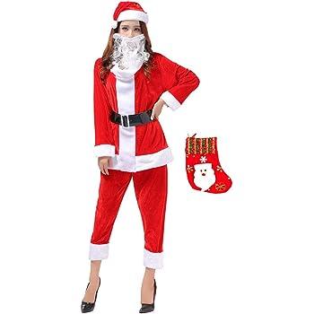 Fout サンタ衣装クリスマス仮装サンタクロースコスプレ大人レディースメンズ男女兼用帽子ベルトトップスパンツひげ飾り靴下6点セット