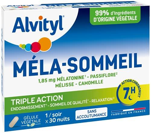 Alvityl - Gélules Méla-Sommeil - Mélatonine+3 plantes+vitamine B6 - Double action sur le sommeil - 30 gélules