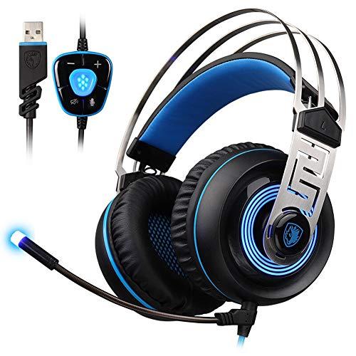 EPMR Headphones, competitieve gaming headsets, 7.1-kanaals subwoofer bedrade hoofdtelefoon, computer gaming headset met microfoon, USB-aansluiting, geschikt voor professionele gaming of kantoor