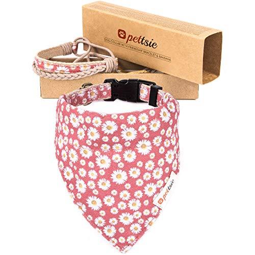 Pettsie Collier pour chien assorti avec bandana et bracelet d'amitié pour propriétaire, coffret cadeau inclus, chanvre durable, anneau en D solide pour attacher facilement la laisse (S, rose)