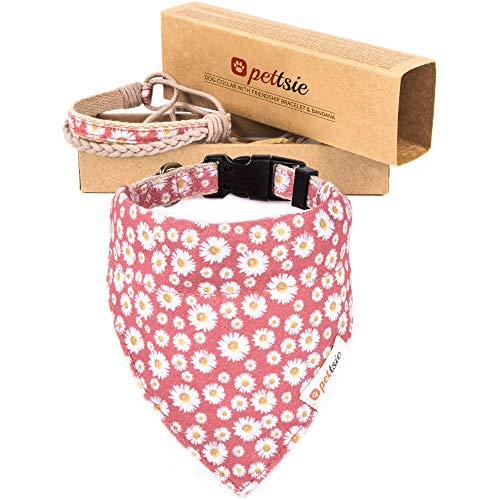 Pettsie Matching Dog Collar & Bandana & Owner Friendship Bracelet, Gift Box Included, Durable Hemp, 2 Adjustable Sizes, Comfortable and Soft, Strong D-Ring for Easy Leash Attachment (S, Pink)