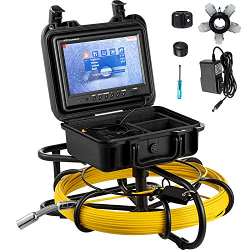 Mophorn Sewer Camera,300FT Pipe Pipeline Inspection Camera,9 Inch Color LCD Monitor Pipe Inspection Equipment, IP68 Borescope Endoscope Waterproof(Camera Size: 23MMx120MM)