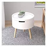 Mesa de centro pequeña Mesa decorativa mesa de madera pequeña mesa auxiliar / Side mesa de centro redonda Mesilla de noche / Con bandeja extraíble for sala de estar, 15 H 'Dx16.9' mesa de centro