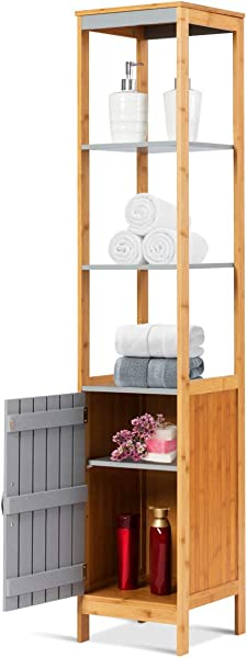 Tangkula Bathroom Floor Cabinet Bamboo 5 Tier Concise Storage Organizer Unit Free Standing Single Door And Adjustable Shelf Living Room Bedroom Gray And Natural 12 X12 X62 5