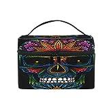 Bolsa de Maquillaje BIGJOKE, con diseño de Calavera Mexicana, portátil, de Viaje, con Grandes compartimientos organizadores para cosméticos y cosméticos, para niñas y Mujeres
