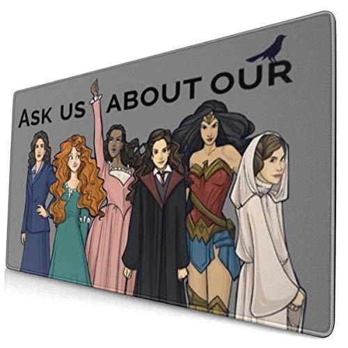 Alfombrilla de ratón extra grande – Agenda 2 feminista gris – 15.6 x 29.5 pulgadas (3 mm de grosor) – XL – Alfombrilla protectora para teclado de escritorio