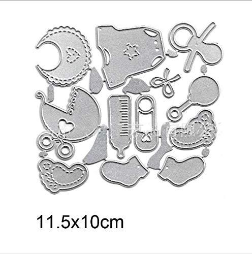 N A 12pcs / Set Nette Baby-Set Metall in kleine Würfel würfeln DIY Scrapbookpapier Fotoschablone Handwerk Würfel Messer Vorlage