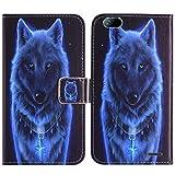 TienJueShi Wolf Flip Book Stand Brief Leder Tasche Schütz Hülle Handy Hülle Abdeckung Fall Wallet Cover Etüi Skin Für Gigaset GS100 5.5 inch