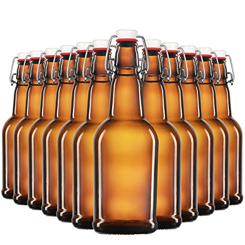 Amber Glass Swing Top Beer Bottles - 16 Ounce (12 Pack) Grolsch Bottles, with Flip-top Airtight Lid, for Carbonated Drinks, Kombucha, 2nd Fermentation, Water Kefir, UV Protection Brewing Bottle.