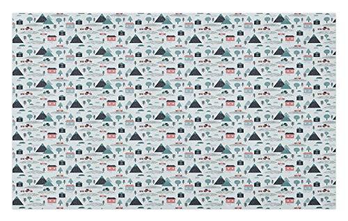 ABAKUHAUS Pueblo Tapete, Geométrico del Estilo Coches Casas, Decorativo con Fieltro de Poliéster Estampado Base Antideslizante, 45 cm x 76 cm, Azul pálido pálido Rust Teal