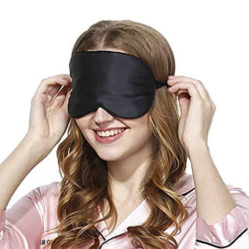 Masque de Sommeil, Masque de Nuit Soie, 100% Soie Naturelle Occultant Ultra-Douce Masque de Voyage Masque de Yeux Sommeil,Masque pour Dormir Soie, Masque Nuit Sommeil Soie (2 Pack-Noir)