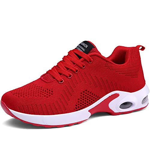 CASMAG Women's Walking Sneaker Outdoor Breathable Athletic Running Shoe Red Red 6 M US