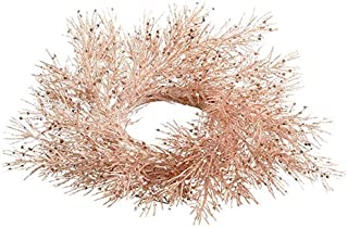 "SilksAreForever 3"" Artificial Glittered German Pine Candle Ring Holder -Rose Gold (Pack of 6)"