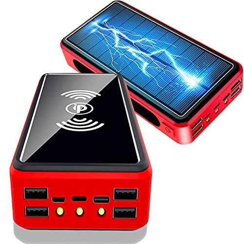 PWQ-01 Caricabatterie 10W Wireless Portatile, Solare Power Bank 50000mAh, Powerbank Solare 5 Uscite 3 Ingressi, Caricatore per Cellulare Impermeabile Batteria Esterna per i-Phone Samsung Huawei,Rojo