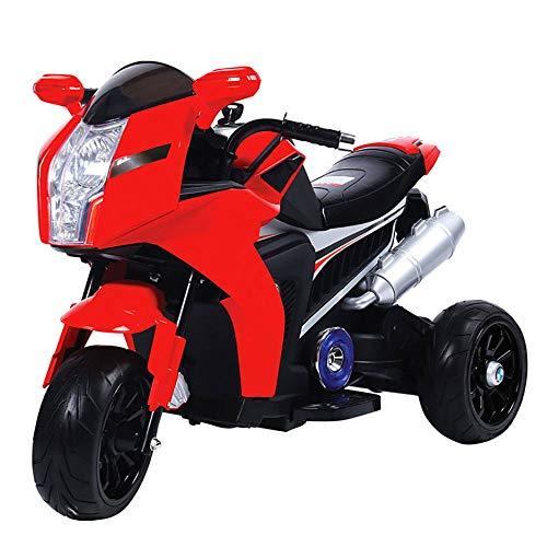 kidfun Moto Elettrica per Bambini 6V Rossa con Effetto Fumo