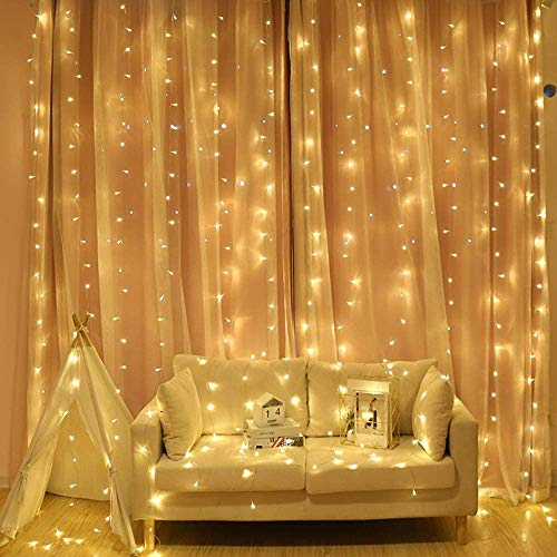LED Curtain Lights, Amazer-T Window Curtain Fairy Twinkle Lights with Remote & Timer, 300 LEDs Window Curtain Fairy Lights 8 Modes 3mx3m USB Powered Fairy Lights for Party Decorations (Warm White)