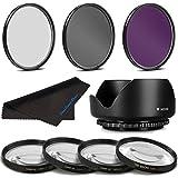 58MM Pro Macro & Lighting Filter Kit for Nikon Canon Sigma Tamron Pentax Olympus Sony Samsung Zeiss Panasonic Lenses 58 mm CPL + UV + FLD + 4 Piece Close Up Kit & 58 mm Lens Hood 58mm Filter Bundle