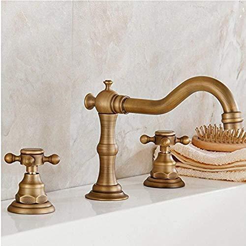 BFGJH Latón Macizo Dos manijas Tres Agujeros Baño Generalizado Grifo de Lavabo de latón Cubierta Antigua Montura acabada Grifos de bañera Durable Vintage