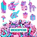 Reenwee Building Bricks 500 Pieces Set ,Classic Colors Building Blocks Toys,Compatible with All Major Brands,Birthday Gift for Kids (Pink-Purple)