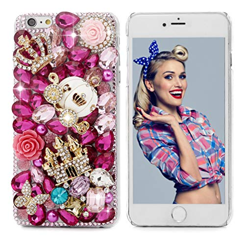 Mavis's Diary iPhone 6S Plus Case,iPhone 6 Plus Case (5.5') 3D Handmade Bling Crytal Golden Castle White Pumpkin Carriage Colorful Shiny Glitter Sparkly Diamond Rhinestone Clear Cover Hard PC Case