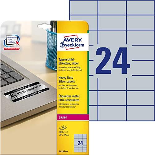 Avery Italia L6133-20 Etichette adesive in poliestere argento, 70 x 37 mm, 24 etichette per foglio, confezione da 20 fogli, stampanti laser, ultra resistenti