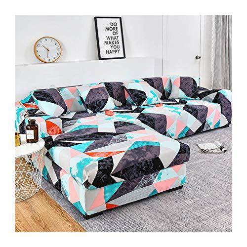ZIJ Cubierta de sofá Cubierta de sofá geométrico Cubierta de sofá elástica para Sala de Estar Mascotas Corner L Caja con Forma de sofá Longue Sofá 1pc (Color : Color 9, Talla : 2seater and 3seater)