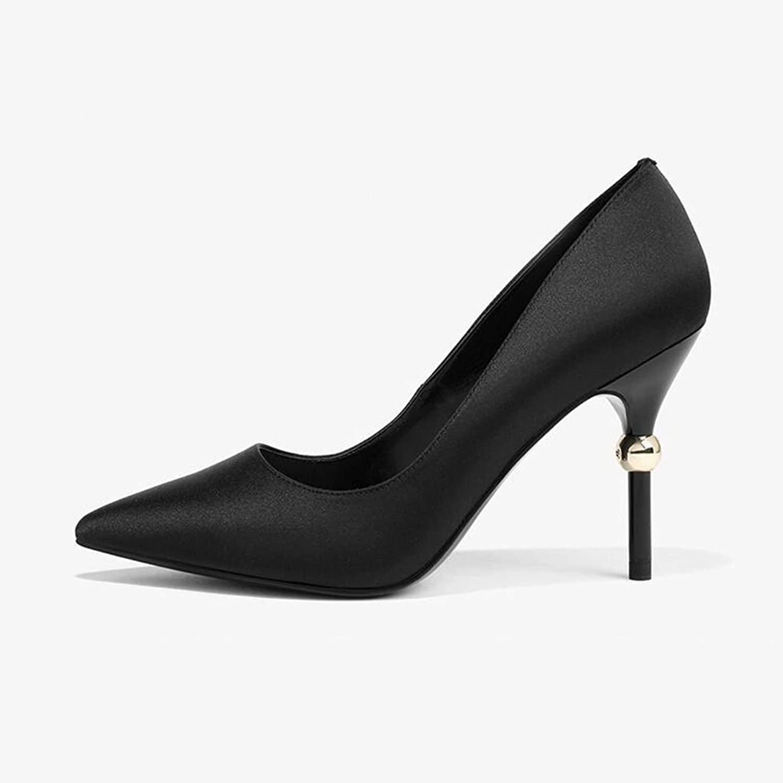XUERUI Ms High Heels Stilettos Sandals Pointed Single shoes Wedding Graduation Temperament Elegant 9.5cm Heel (color   1, Size   EU37 UK4.5-5 CN37)