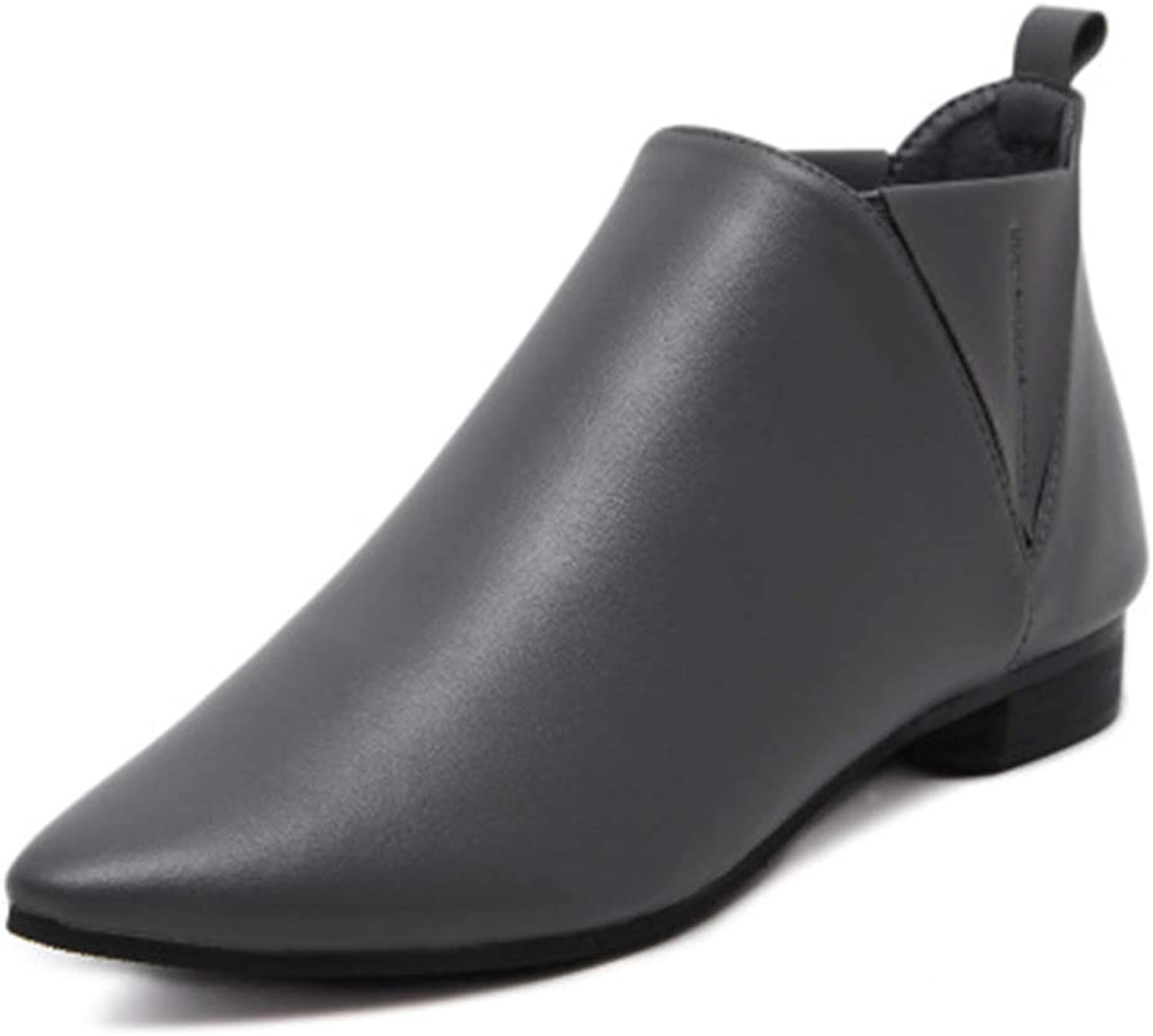Fancyww Women's Pointed Boots Martin Flat Ankle Boots