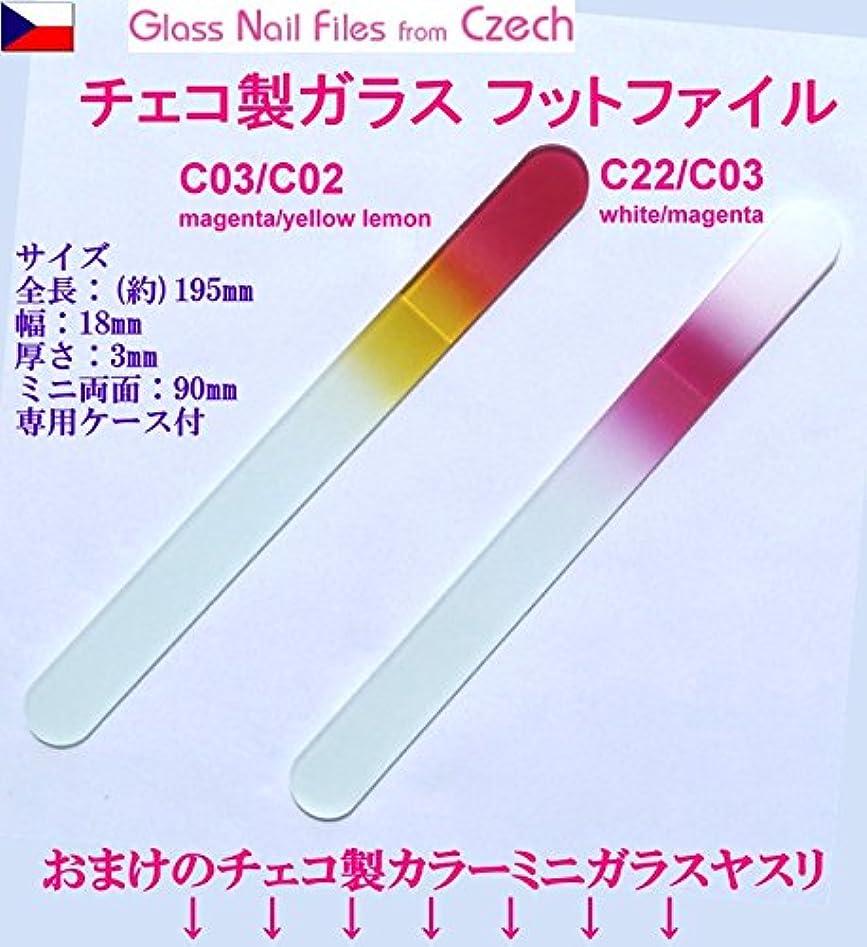 見捨てる名誉ある万一に備えてBISON チェコ製ガラス フットケアー&足の爪ヤスリ 両面 195mm 大&ミニ 2Pセット 介護用 C03/C02 magenta/yellow lemon