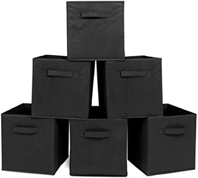KOUYE 6pcs Foldable Storage Bins Cubes Organizer Non-Woven Fabrics Storage Boxes Cubby Cubes with Handles