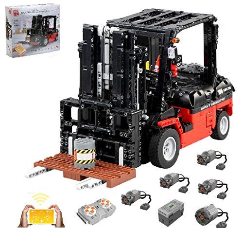 PEXL Technik Gabelstapler 1:10 Bausteine Bausatz, Ferngesteuert 2.4G RC/APP Technic Gabelstapler Bauspielzeug, Konstruktionsspielzeug mit 1719 Klemmbausteine und 5 Motoren