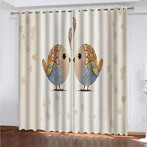 QCTTBD Cortinas De Opacas - 264X 180 Cm - Caricatura Dos Pájaros - para Sala Cuarto Comedor Salon Cocina Habitación - 3D Impresión Digital con Ojales Aislamiento Térmico Cortinas