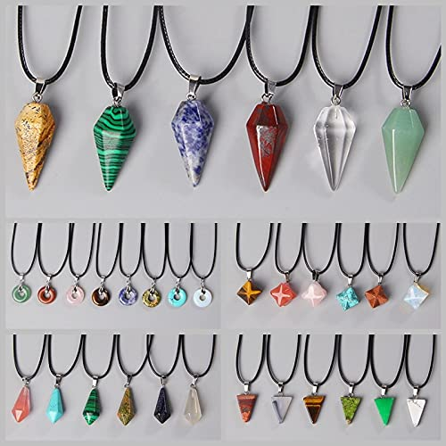 LVYAN Piedra Natural, Cristal de Cuarzo, turquesas, Ojo de Tigre, ópalo, aventurina, donas, Colgante, Collar de Cadenas de Cuero para Mujeres y Hombres