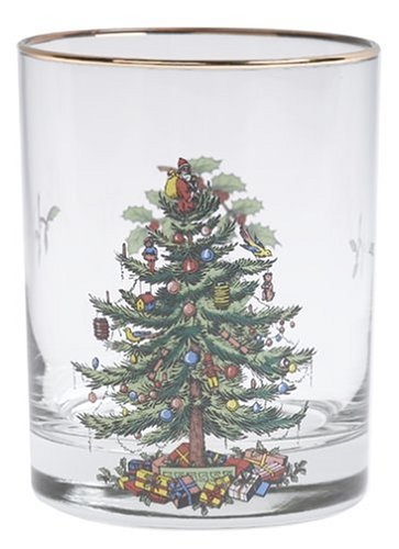 Spode Christmas Tree- 14 Oz Glasses with Gold Rims (Set of 4)