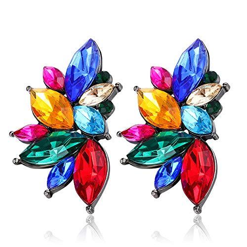 EXINOX Pendientes Cristales Preciosos   Mujer   Elegantes Piedras Brillantes (Multicolor)