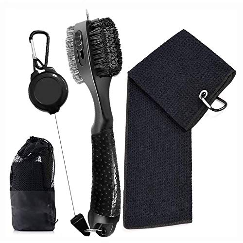 Nother Golf Club Brush and Golf Towel Kit Golf Groove Cleaner Tool Kit Golf Accessories with Retractable Zip line Aluminum Carabiner for Hanging on Golf Bag3 Piece Golf Gifts Set
