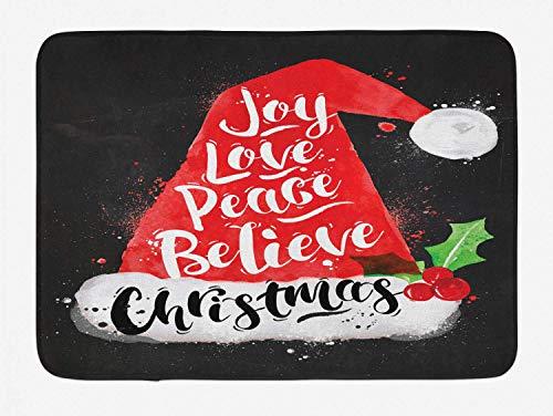 Tapis de Bain Santa, Chapeau de Noël avec Lettrage Joy Love Peace Believe Style de Dessin Aquarelle Vintage, Tapis de décor de Salle de Bain en Peluch