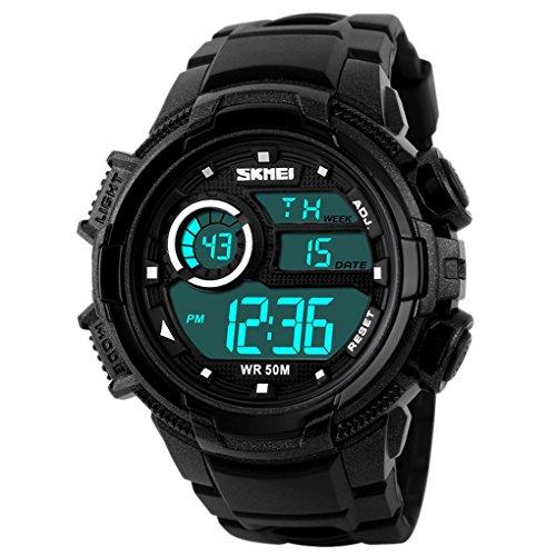 SKMEI - Relojes Digitales Impermeable Reloj Electrónico Deportivo Resistente a Agua Watch Waterproof con Doble Horarios Movimiento Multifunciones Alarma Cronómetro para Hombres- Verde