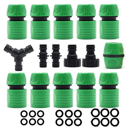 Povanjer Kit de conector de manguera de jardín de plástico para Join Garden Hose Pipe Pipe Hose Tap Connector 1/2 pulgadas y 3/4 pulgadas