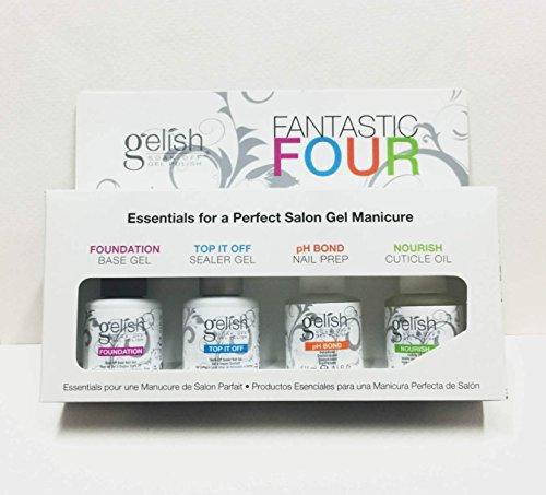Harmony Gelish Fantastic Four Kit de 4 vernis à ongles Finition/base/agent d'adhésion/huile nourrissante 15 ml
