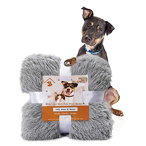 """Pacapet Fluffy Dog Blanket, Soft Reversible Sherpa Throw Blanket for Pets, Puppy, Warm Shaggy Cat Fleece Blanket for Couch/Bed/Sofa Protection, Washable & Lightweight, 20""""x30"""", Gray"""