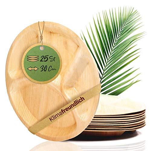 palmenwald© 25 Stück kompostierbare Einwegteller mit Unterteilung (ca 30cm & 3x Unterteilungen) - ALTERNATIVE zu Plastikgeschirr - Einwegteller Palmblattgeschirr -Geschrirr Einweggeschirr