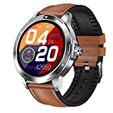 HQPCAHL Smartwatch con medición de la Temperatura Corporal, Oxímetro de Pulso Esfigmomanómetro y Pulsómetro Reloj Inteligente Impermeable para Hombre Mujer, Pulsera de Actividad para Android iOS,F