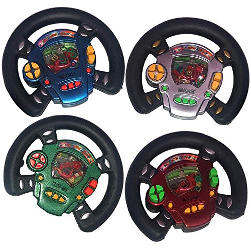 ArtCreativity Race Car Wheel Water Ring Game, Set of 4, Handheld Steering Game for Kids, Fun Pretend Play Toys, Race Car Birthday Party Favors for Children, Travel Road Trip Toys for Boys and Girls
