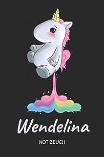 Wendelina - Notizbuch: Individuelles personalisiertes Mädchen & Frauen Namen blanko Regenbogen pupsendes Einhorn Notizbuc...