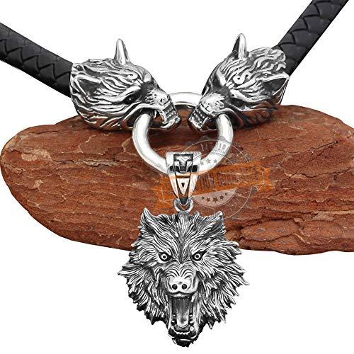 QZY Vintage 3D Herren Wolf Kopf Halskette, Thors Hammer Anhänger Viking Mjolnir Halskette Vintage Lederschnur Nordisches Amulett, Keltischer Heidnischer Symbolschmuck,Wolf Head,70CM 28IN